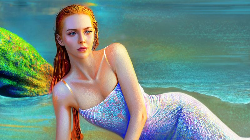 Mermaid, Beautiful, Girl, Paint, Vivid, Red hair, Portrait, Woman, Wallpaper