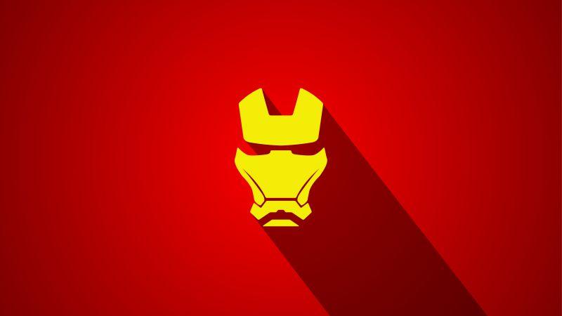 Iron Man, Marvel Superheroes, Red background, Minimal art, 5K, Wallpaper