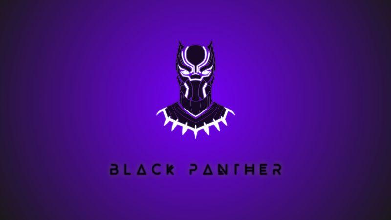 Black Panther, Minimal art, Marvel Superheroes, Purple background, 5K, 8K, Wallpaper