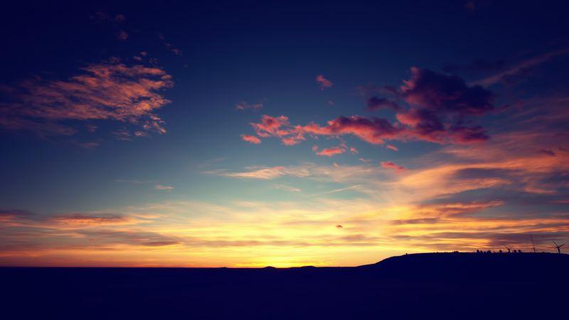 Sunset, Landscape, Silhouette, Clouds, Dusk, Orange sky, Horizon, Wallpaper