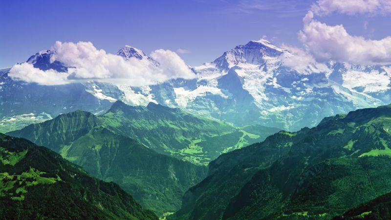 Jungfrau peak, Eiger, Monch, Bernese Alps, Switzerland, Summit, Landscape, Glacier mountains, Snow covered, Green, Clouds, Wallpaper