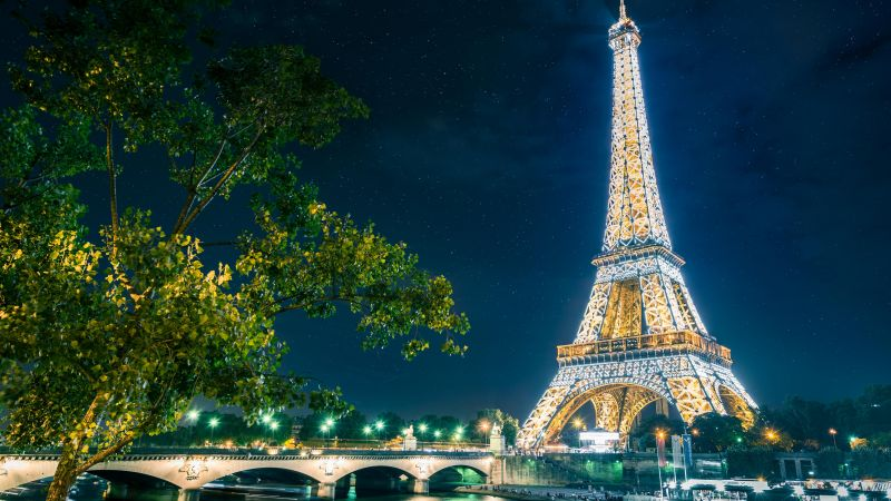Eiffel Tower, Night time, Glowing lights, Starry sky, Landmark, Famous Place, Tourist attraction, Long exposure, Paris, France, Low Angle Photography, Wallpaper
