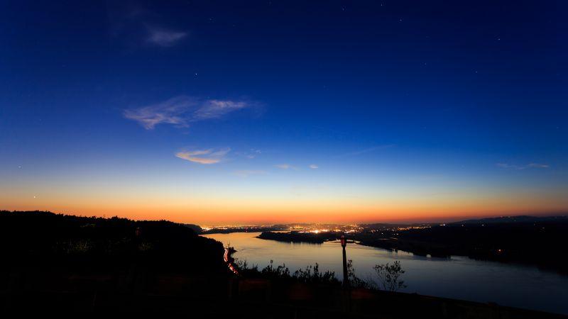 Columbia River Gorge, Portland, Sunset Orange, Blue Sky, Clear sky, Silhouette, Dusk, Stars, Wallpaper