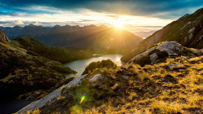Fiordland, New Zealand, Sunrise, Mountain View, Mountain range, Landscape, Clouds, Sunrays, Northwest Lakes, Wallpaper
