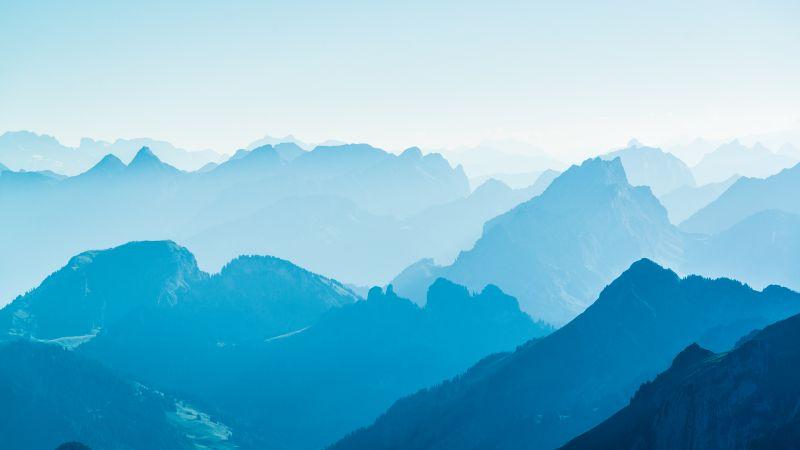 Alpstein, Switzerland, Mountain range, Landscape, Foggy, Aerial view, Wallpaper