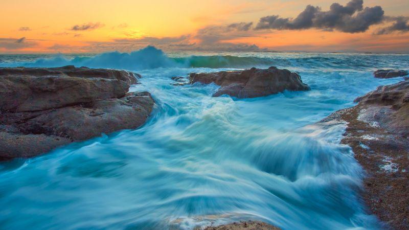 Ocean Waves, Seascape, Blue Water, Rocks, Sunset, Clouds, Orange sky, Landscape, Wallpaper