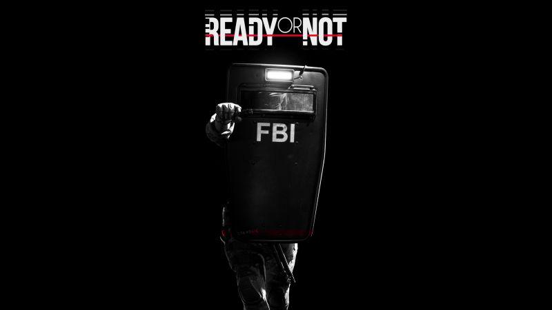 Ready Or Not, FBI, Police, Shield, Black background, 5K, Wallpaper