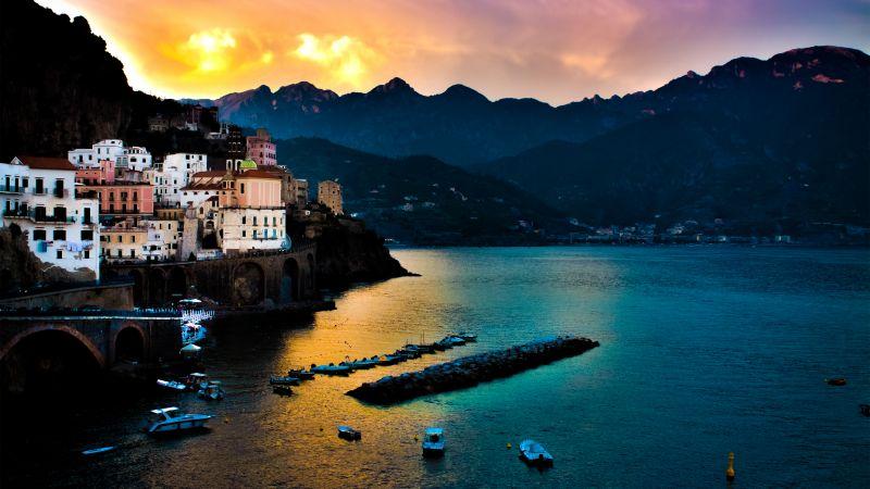 Tyrrhenian Sea, Amalfi, Italy, Cliffs, Mountain range, Seascape, Boats, Body of Water, Long exposure, Sunset, Landscape, Wallpaper
