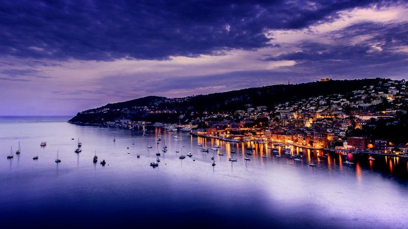 Villefranche-sur-Mer, France, Sunset, Purple Sky, Seascape, Twilight, Dark clouds, Boats, Long exposure, Body of Water, Dusk, City lights, Wallpaper