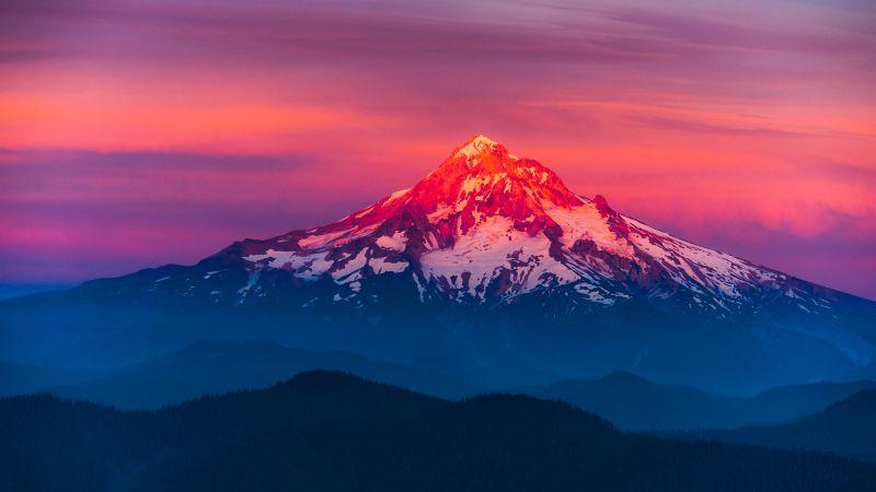Mount Hood, Oregon, Alpenglow, Sunset, Pink sky, Mountain Peak, Glacier mountains, Snow covered, Landscape, Scenic, Beautiful, Wallpaper
