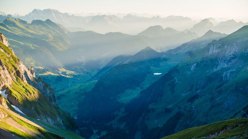 Rotsteinpass, Switzerland, Alpstein, Landscape, Mountain range, Valley, View Point, Fog, Sunrise, Wallpaper