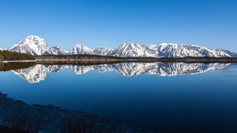 Grand Teton National Park, Wyoming, Landscape, Mirror Lake, Reflection, Blue Sky, Body of Water, Glacier mountains, Snow covered, Scenery, Wallpaper