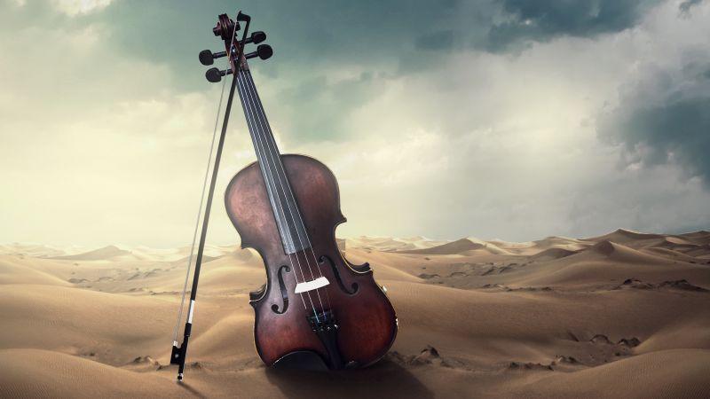 Violin, Musical, Desert, Storm, Wallpaper