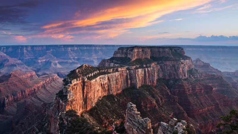 Cape Royal, Grand Canyon, Rock formations, Landscape, Tourist attraction, Sunset, Scenery, Wallpaper