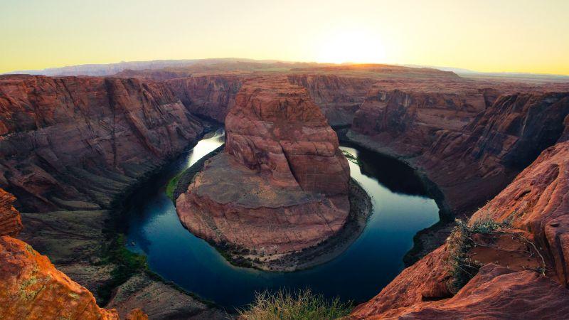 Horseshoe Bend, Page, Arizona, Colorado River, Grand Canyon, Rock formations, Landmark, Landscape, Tourist attraction, Wallpaper