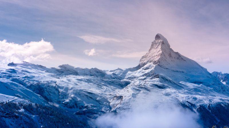 Matterhorn, Switzerland, Italy, Snow covered, Fog, Landscape, Mountain Peak, Winter, Sunrise, Early Morning, Wallpaper