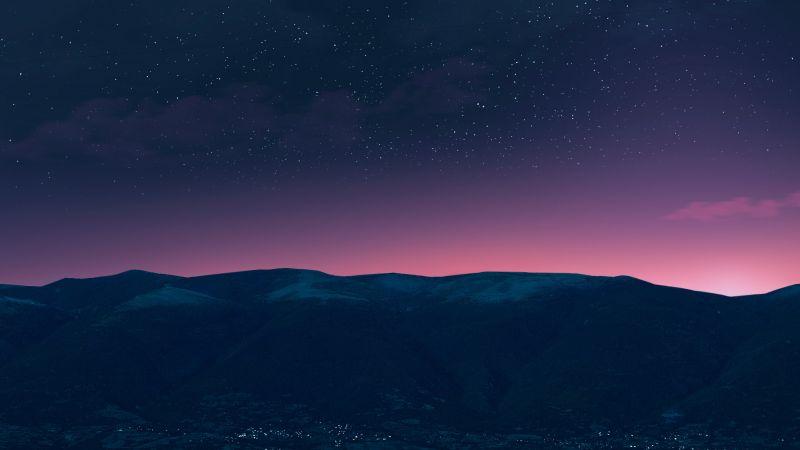 Silhouette, Mountain, Starry sky, Night time, Purple sky, Landscape, Dusk, Wallpaper