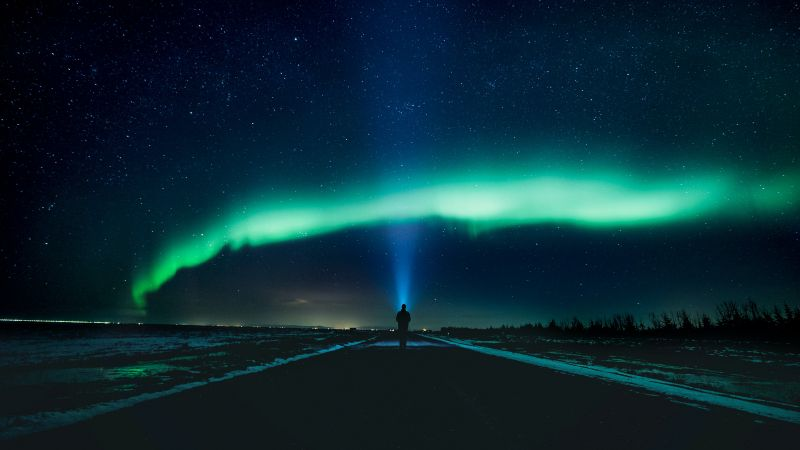 Aurora Borealis, Northern Lights, Standing Man, Light beam, Night time, Country road, Stars, Landscape, Horizon, Polar Lights, Wallpaper