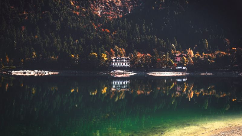 Lake Molveno, Italy, Lakeside, Wooden House, Green Trees, Reflection, Forest, Landscape, 5K, Wallpaper