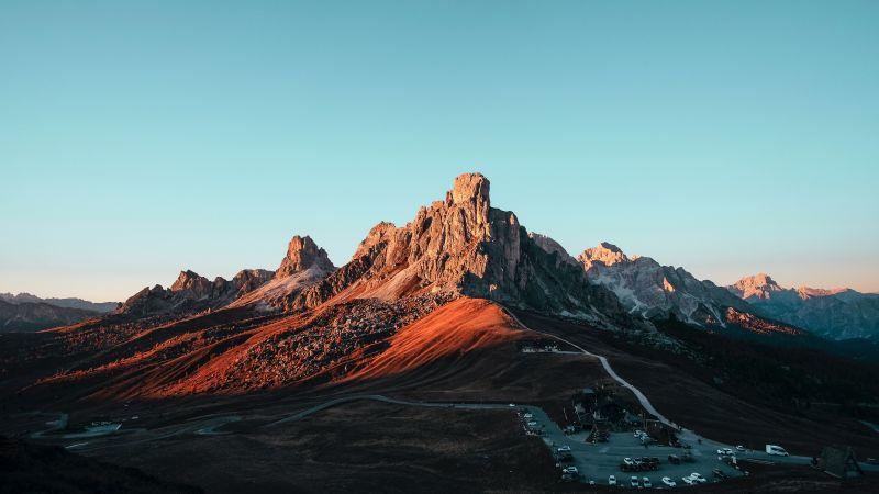 Giau Pass, Mountain pass, Italy, Dolomites, Landscape, Mountain Peak, Blue Sky, 5K, Wallpaper