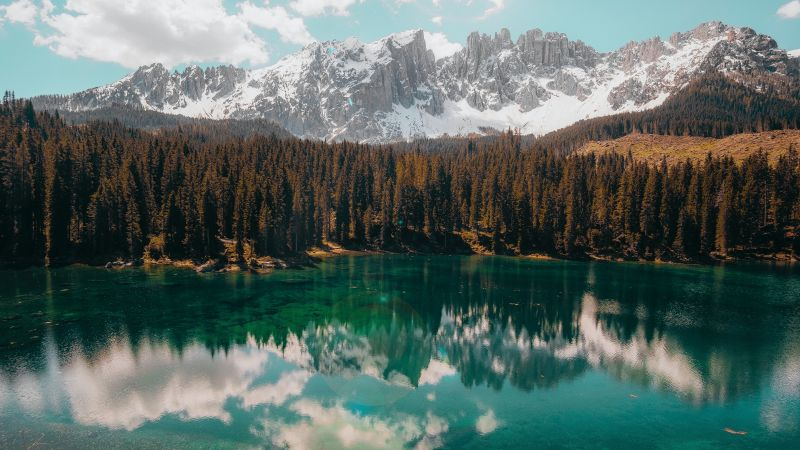 Glacier Mountains, Snow covered, Fir trees, Mirror Lake, Reflection, Landscape, Scenery, Clouds, 5K, Wallpaper