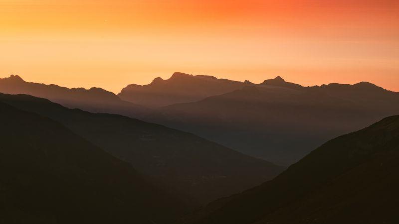 Swiss Alps, Silhouette, Mountain range, Orange sky, Sunset, Landscape, Scenery, 5K, Wallpaper