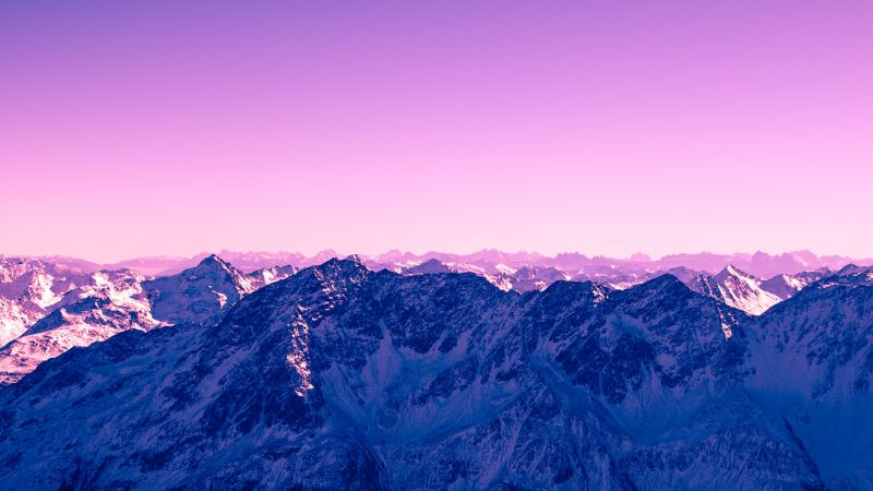 Purple Sky, Glacier Mountains, Snow Covered, Landscape, Aerial view, Mountain range, Wallpaper