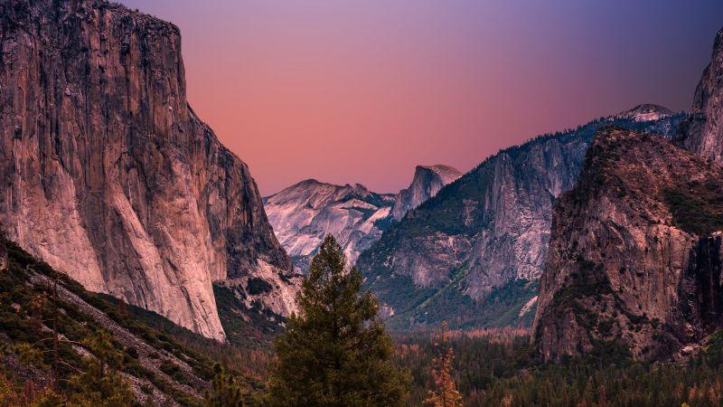Yosemite Valley, United States, Golden hour, Landscape, Mountain range, Cliffs, Purple sky, 5K, Wallpaper