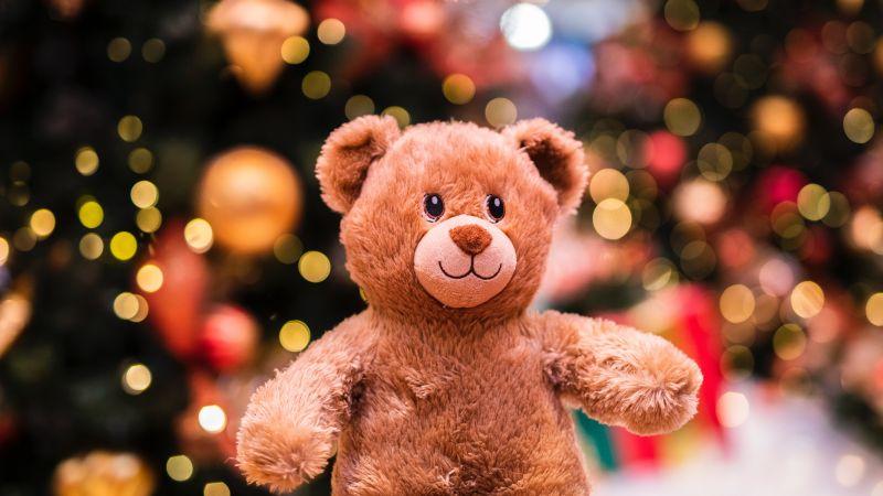 Teddy bear, Brown, Bokeh, Lights, Gift, Cute, Fluffy Bear, Dolls, 5K, Wallpaper