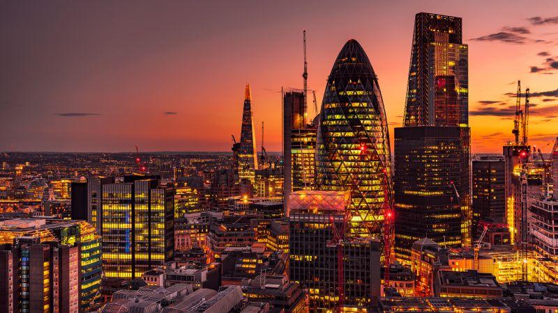 Cityscape, City lights, Sunset, Dawn, Skyscrapers, London, 5K, Wallpaper