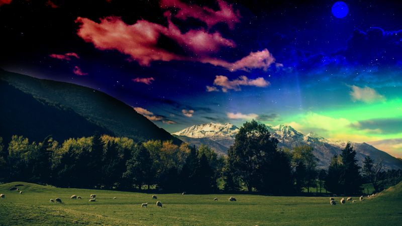 Green Meadow, Grass field, Glacier mountains, Snow covered, Mystical Sky, Stars, Moon, Digital composition, Landscape, Green Trees, 5K, Wallpaper