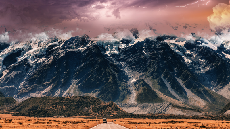 Endless Road, Mountain range, Thunderstorm, Cloudy Sky, Extreme Weather, Mystic, 5K, Wallpaper