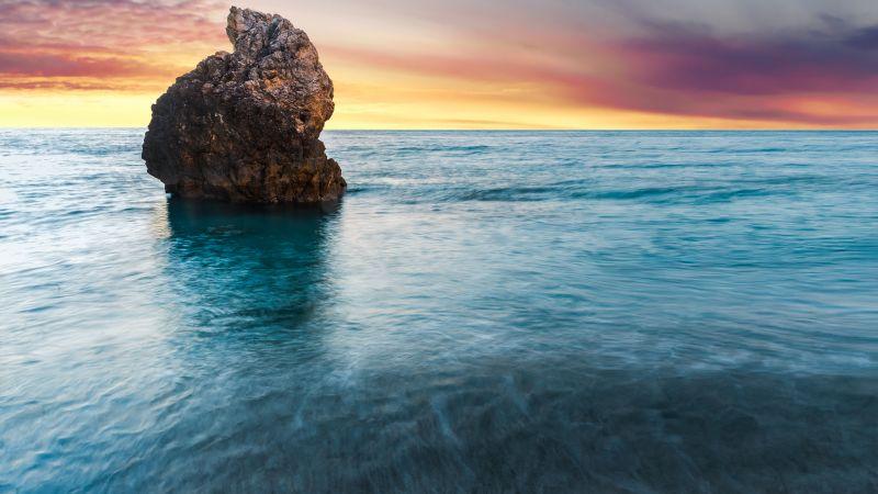 Lefkada Island, Greece, Milos Beach, Sunset, Seascape, Lone rock, Orange sky, Horizon, Long exposure, Scenery, Wallpaper
