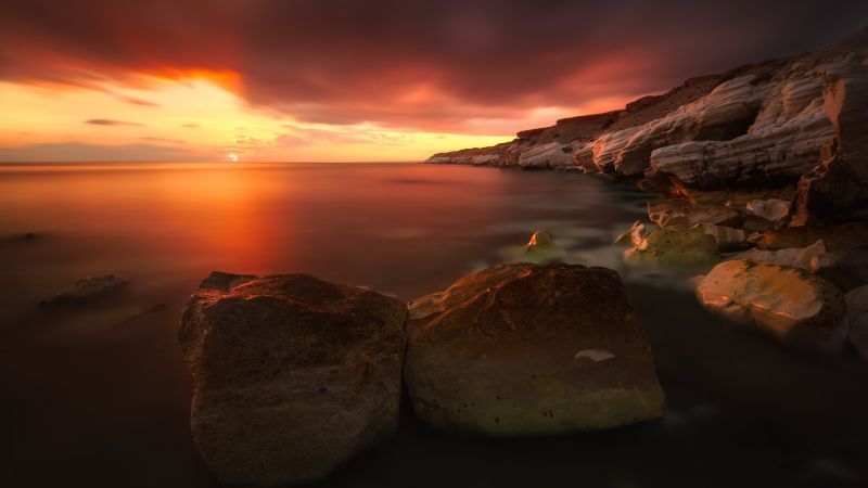Rocky coast, Sunset, Seascape, Body of Water, Cliff, Long exposure, Horizon, Orange sky, Wallpaper
