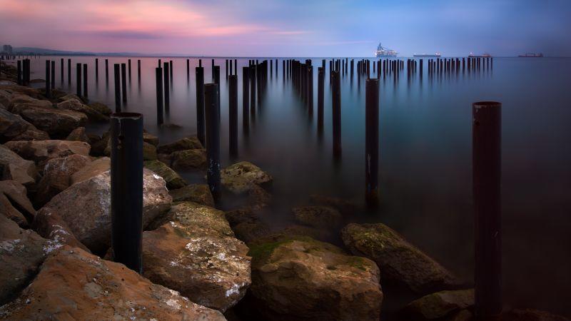 Rocky coast, Sunrise, Early Morning, Seascape, Long exposure, Horizon, Pattern, Boats, Body of Water, Wallpaper