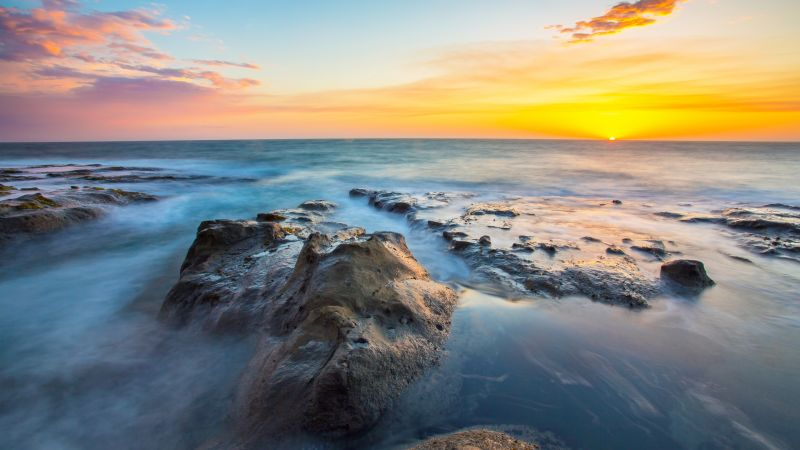 Rocky coast, Seascape, Sunset Orange, Horizon, Sunset, Clear sky, Long exposure, Ocean blue, Wallpaper