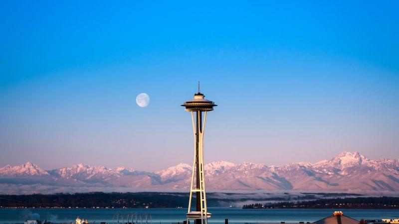 Space Needle, Seattle, Modern architecture, Landmark, Glacier mountains, Snow covered, Mountain range, Blue Sky, Clear Sky, Moon, Foggy, Sunrise, Wallpaper