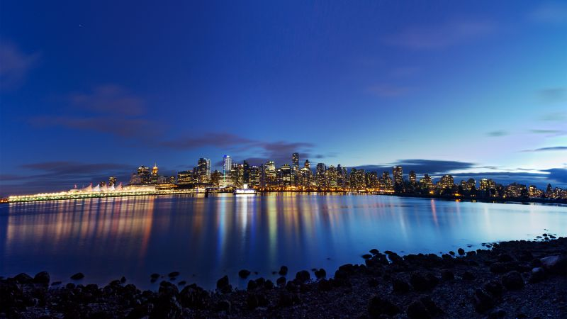 Vancouver City, British Columbia, Dusk, Cityscape, City lights, Canada, Coastal, Night time, Blue Sky, Body of Water, Reflection, Skyscrapers, Wallpaper
