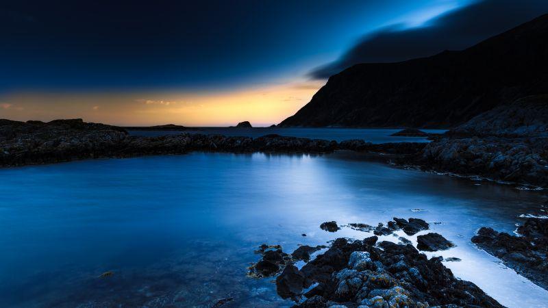 Rocky coast, Bremanger, Norway, Twilight, Sunset, Long exposure, Mountain, Dusk, Body of Water, Landscape, Night time, Wallpaper
