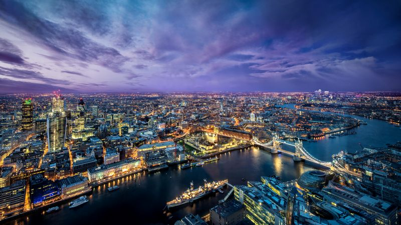 London City, Cityscape, City lights, Dusk, Purple Sky, Horizon, Skyscrapers, Aerial view, England, Landscape, Clouds, Sunset, Wallpaper