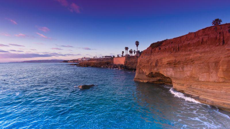 Sunset Cliffs, Seascape, Rocky coast, Ocean view, Clear sky, Dusk, Scenic, Wallpaper
