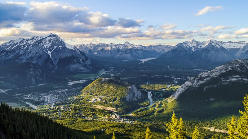 Banff Town, Alberta, Canada, Landscape, Valley, Scenery, Mountain range, Glacier mountains, Snow covered, Cloudy Sky, Wallpaper