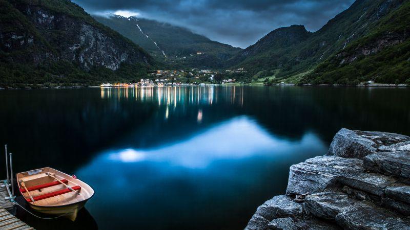 Geiranger, Norway, Village, Mountains, Lake, Dusk, Reflection, Landscape, Long exposure, Boat, Rocks, Clouds, Tourist attraction, Wallpaper