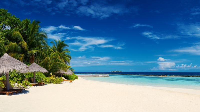 Baros Maldives, Island, Seascape, Tropical beach, Blue Sky, Horizon, Ocean, Landscape, Huts, Scenery, Wallpaper