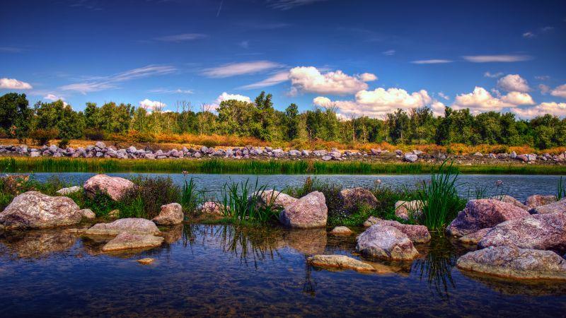 Gheraiesti Park, Bacau city, Romania, Rocks, Landscape, Blue Sky, Clouds, Reflection, High Dynamic Range, HDR, Green Trees, Lacustrine, Wallpaper