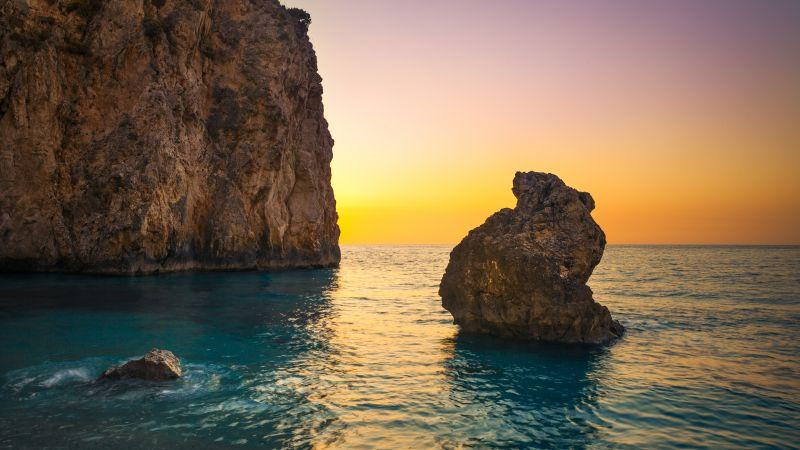 Milos Beach, Greece, Lefkada Island, Lone rock, Sunset Orange, Clear sky, Cliff, Horizon, Seascape, Water waves, Ocean blue, Wallpaper