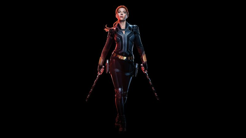 Black Widow, Scarlett Johansson, Black background, 2020 Movies, 5K, 8K, Wallpaper