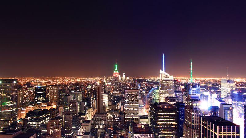 New York City, Cityscape, City lights, Night time, City Skyline, Horizon, Long exposure, Landmark, Aerial view, Rockefeller Center, Wallpaper