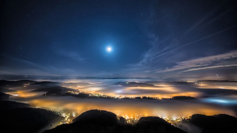 Swiss Mountain Plateau, Aerial view, Fog, Landscape, Long exposure, Night time, Starry sky, Full moon, Moon light, Wallpaper