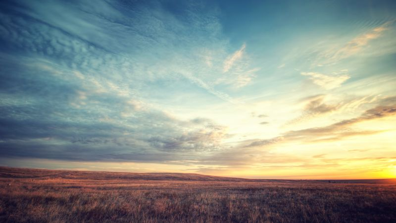 Meadow, Landscape, Horizon, Fields, Sunset, Landscape, Cloudy Sky, Wallpaper